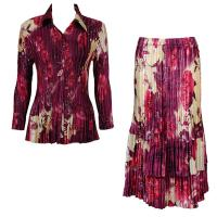 Sets Satin Mini Pleat - Blouse / Skirt - Rose Floral Berry