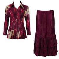 Sets Satin Mini Pleat - Blouse / Skirt - Rose Floral Berry - Ruby Skirt