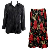 Sets Satin Mini Pleat - Blouse / Skirt - Solid Black - Coral Blossoms on Black Skirt