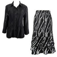 Sets Satin Mini Pleat - Blouse / Skirt - Solid Black - Ribbon Black-White Skirt