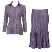 Sets Satin Mini Pleat - Blouse / Skirt - Solid Dusty Purple