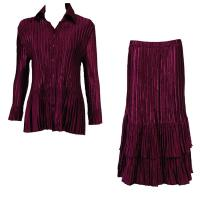Sets Satin Mini Pleat - Blouse / Skirt - Solid Ruby