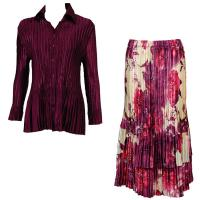 Sets Satin Mini Pleat - Blouse / Skirt - Solid Ruby - Rose Floral Berry Skirt
