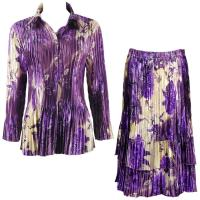 Sets Satin Mini Pleat - Blouse / Skirt - Rose Floral Purple