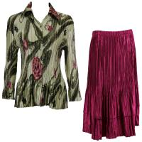 Sets Satin Mini Pleat - Blouse / Skirt - Multi Green Floral - Ruby Skirt