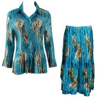 Sets Satin Mini Pleat - Blouse / Skirt - Taupe on Teal