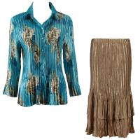 Sets Satin Mini Pleat - Blouse / Skirt - Taupe on Teal - Light Gold Skirt