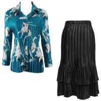 Sets Satin Mini Pleat - Blouse / Skirt - White Tulips on Teal - Black Skirt