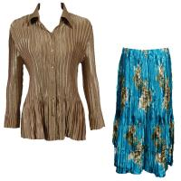 Sets Satin Mini Pleat - Blouse / Skirt - Solid Light Gold - Taupe on Teal Skirt