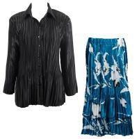 Sets Satin Mini Pleat - Blouse / Skirt - Solid Black - White Tulips on Teal Skirt