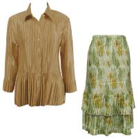 Sets Satin Mini Pleat - Blouse / Skirt - Solid Gold - Gold-Sage Floral Skirt