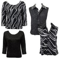 Sets - Reversible Vest / Two TQ Tops - Ribbon Black-White - Black