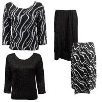 Sets Magic Crush Silky Touch - Two TQ / Calf Skirt - Ribbon Black-White - Black