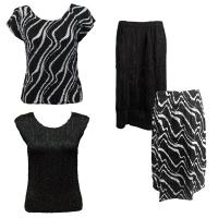 Sets Magic Crush Silky Touch - Two Cap/Calf Skirt - Ribbon Black-White - Black