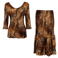 Sets Satin Mini Pleat - Three Quarter V-Neck - Golden Leopard