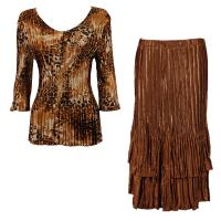 Sets Satin Mini Pleat - Three Quarter V-Neck - Golden Leopard - Brass Skirt