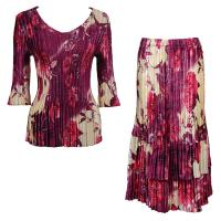 Sets Satin Mini Pleat - Three Quarter V-Neck - Rose Floral Berry