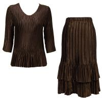 Sets Satin Mini Pleat - Three Quarter V-Neck - Solid Dark Brown