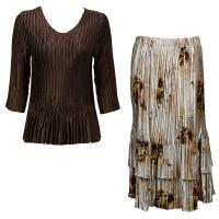 Sets Satin Mini Pleat - Three Quarter V-Neck - Solid Dark Brown - Beige Floral Skirt