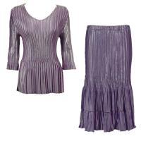Sets Satin Mini Pleat - Three Quarter V-Neck - Solid Dusty Purple
