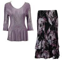 Sets Satin Mini Pleat - Three Quarter V-Neck - Solid Dusty Purple - Brushstrokes Black-Purple Skirt