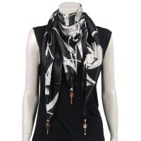 Scarves - Satin Triangle with Pendants - White Tulips on Black