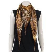 Scarves - Satin Triangle with Pendants - Swirl Leopard