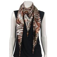 Scarves - Satin Triangle with Pendants - Patchwork Leopard