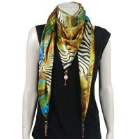 Scarves - Satin Triangle with Pendants - Abstract Zebra Gold-Blue