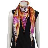 Scarves - Satin Triangle with Pendants - Abstract Zebra Orange-Pink