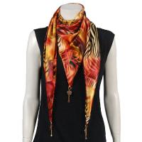 Scarves - Satin Triangle with Pendants - Abstract Zebra Red-Orange