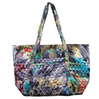 Quilted Bags - Large Tote - Abstract Paint Splatter - Slate