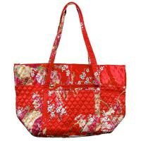 Quilted Bags - Large Tote - Raspberry Floral on Red