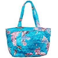 Quilted Bags - Small Tote - Butterfly Floral on Sky Blue