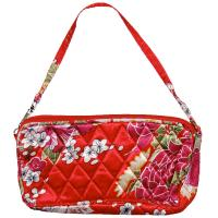 Quilted Bags - Wristlet - Raspberry Floral on Red