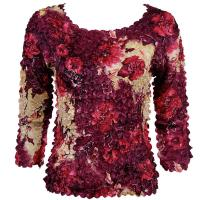 Satin Origami Petal Shirts - Three Quarter Sleeve - Rose Floral - Berry