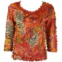 Satin Origami Petal Shirts - Three Quarter Sleeve - Abstract Zebra Red-Orange