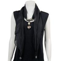Scarves - Heart Pendant - Chiffon - Black