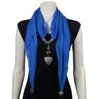 Scarves - Heart Pendant - Chiffon - Royal