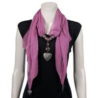 Scarves - Heart Pendant - Chiffon - Dusty Purple