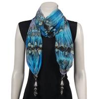 Scarves - Tropical Peacock with Hanging Pendants - Royal Blue-Blue
