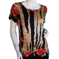 Satin Origami Petal Shirts - Cap Sleeve - Tiger-Red Floral