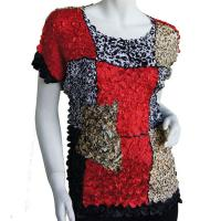 Satin Origami Petal Shirts - Cap Sleeve - Red, Black & Animal