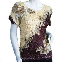 Satin Origami Petal Shirts - Cap Sleeve - Diagonal Butter-Brown