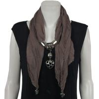 Scarves - Hearts on Heart Pendant - Chiffon - Taupe