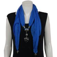 Scarves - Hearts on Heart Pendant - Chiffon - Royal