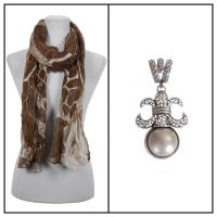 Scarves - Crinkle Giraffe Abstract 2117 w/ Pendant - Brown-Taupe w/ Pendant #398