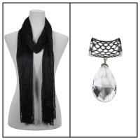 Scarves - Metallic Fishnet 3836 w/ Pendant - Black w/ Pendant #075