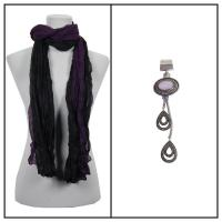 Scarves - Two-Tone Crinkle 908081 w/ Pendant - Black-Purple w/ Pendant #399