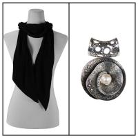 Scarves - Magic Slinky w/ Pendant - Black w/ Pendant #001